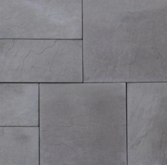 Grey faux stone concrete pavers.