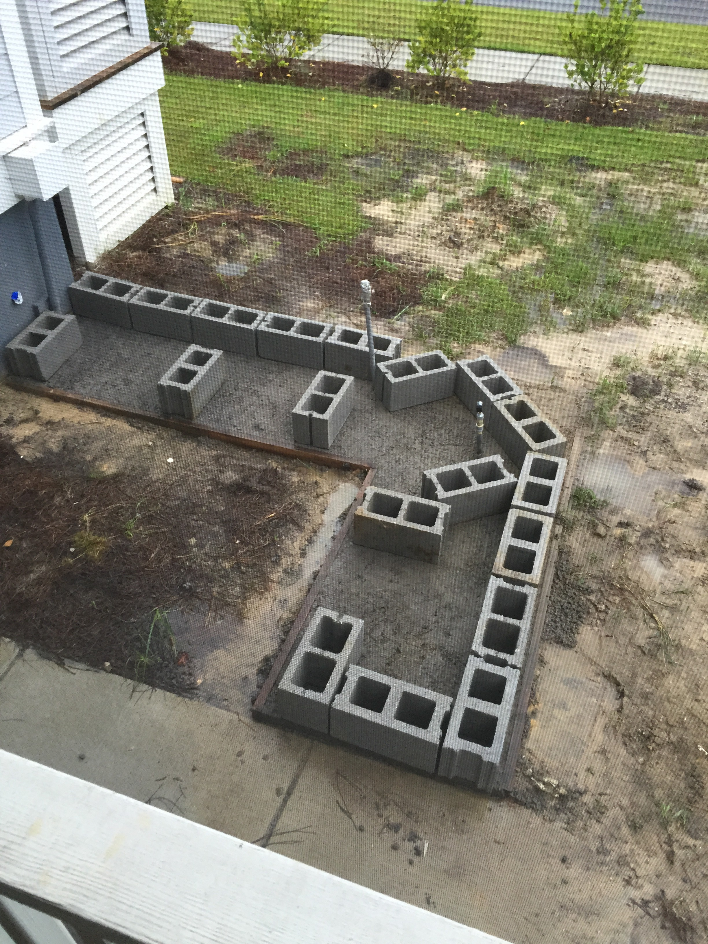 DIY Outdoor Living Space Part 3 Laying Concrete Blocks